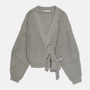 Zara cropped belted cardigan